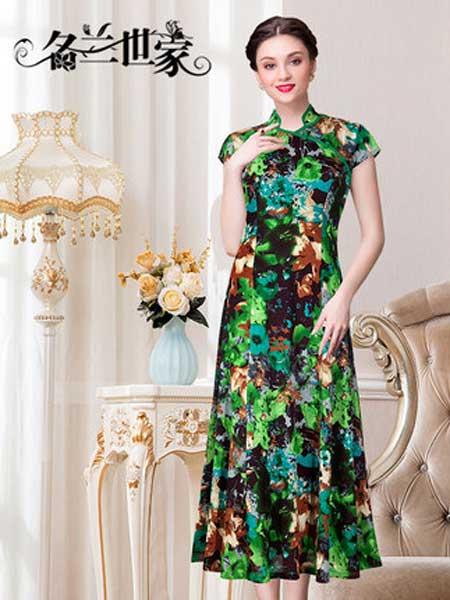 名兰世家女装品牌2019春夏新款复古碎花旗袍改良款中长款修身时尚连衣裙