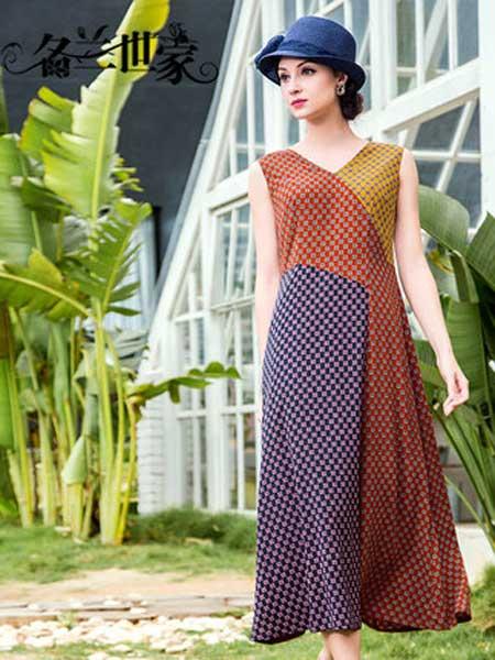 名兰世家女装品牌2019春夏新款时尚撞色拼接V领收腰遮肚连衣裙
