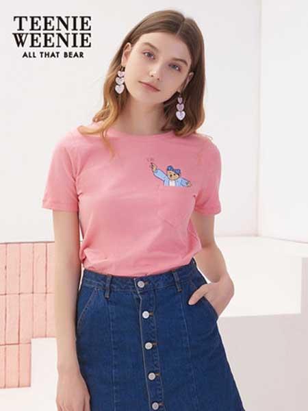 维尼熊女装品牌2019春夏新款圆领纯色短袖t恤韩版宽松半袖