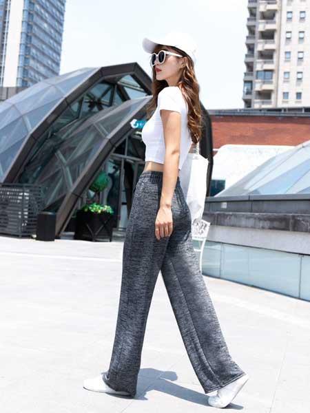 聚美哒女装品牌2019春夏新款显瘦拖地长裤薄款垂坠感高腰直筒裤子