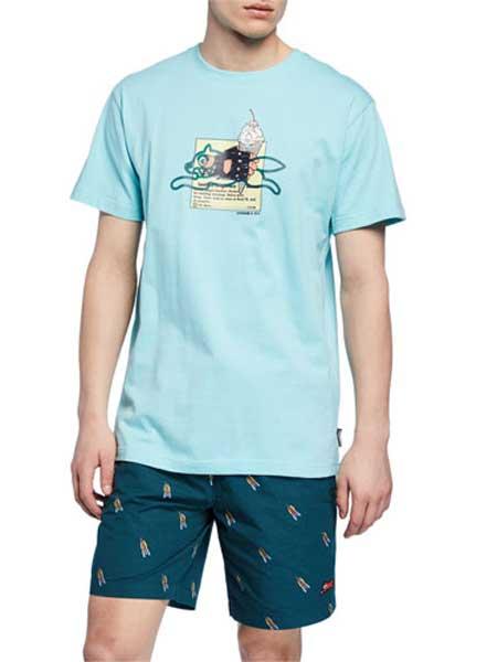 SSUR男装品牌2019春夏新款时尚休闲宽松舒适百搭圆领印花短袖T恤
