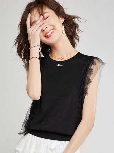 YHMW女装品牌2019春夏新款百搭小衫气质圆领宽松套头上衣黑色无袖薄款针织衫