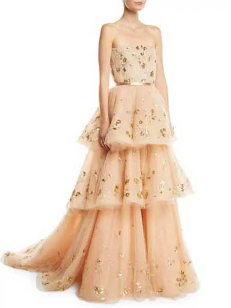 Gareth Pugh加勒斯・普女装品牌2019春夏新款时尚优雅气质无袖修身蛋糕连衣长裙