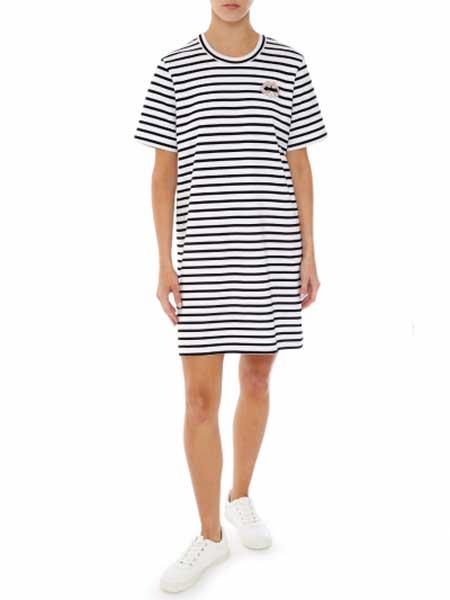 Markus Lupfer女装品牌2019春夏新款时尚圆领条纹连衣裙