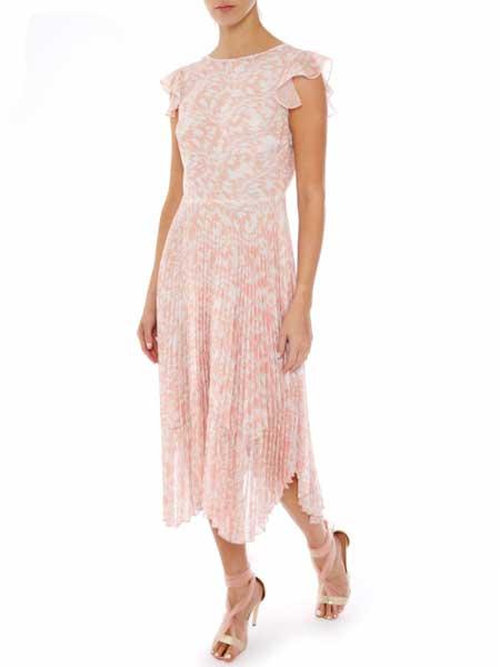 Markus Lupfer女装品牌2019春夏新款时尚气质优雅无袖收腰中长连衣裙