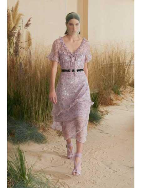 Markus Lupfer女装品牌2019春夏新款V领短袖印花收腰显瘦中长款大摆裙