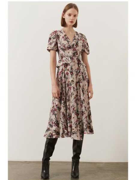 Markus Lupfer女装品牌2019春夏新款V领荷叶袖长款印花收腰显瘦连衣裙