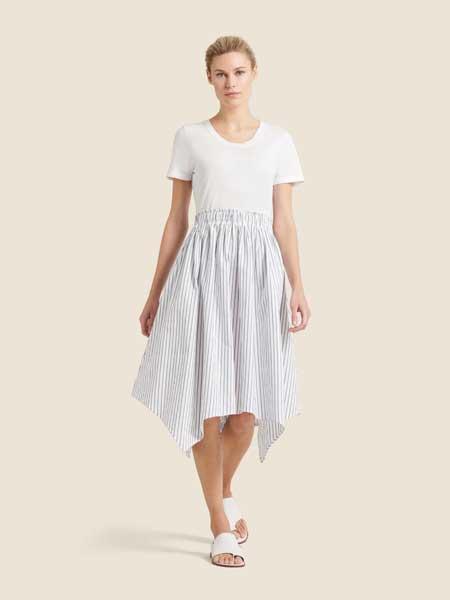 Donna Karan唐娜·凯伦女装品牌2019春夏新款时尚印花拼接休闲连衣裙