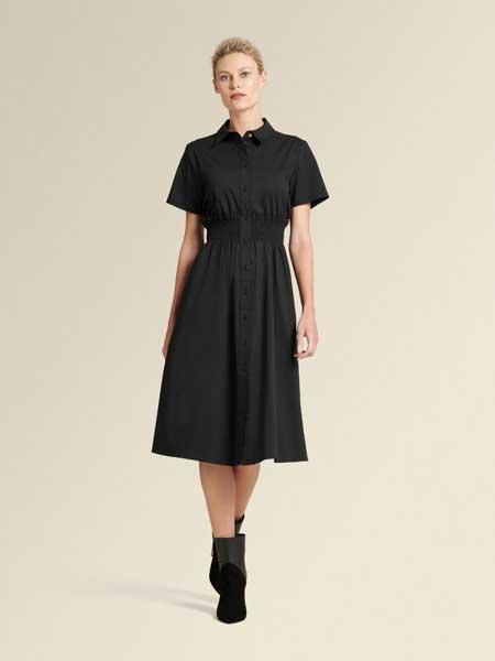 Donna Karan唐娜·凯伦女装品牌2019春夏新款翻领单排扣松紧腰短袖衬衣连衣裙