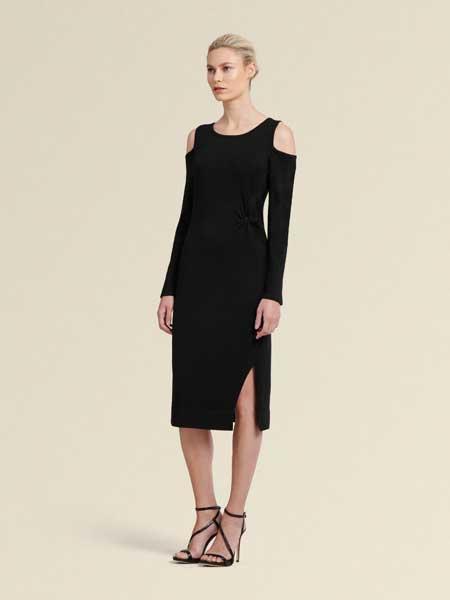 Donna Karan唐娜·凯伦女装品牌2019春夏新款韩版修身显瘦气质小露肩加大码连衣裙
