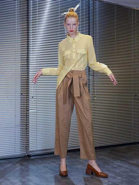REINEREN女装品牌2019春夏新款韩版时尚纯色气质舒适洗水棉九分休闲裤