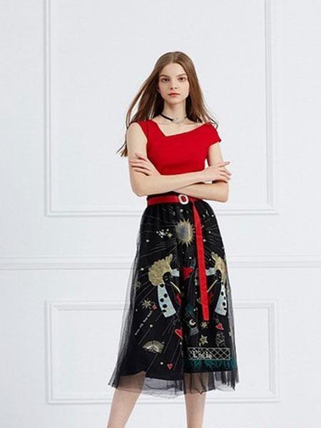 武汉爱弗瑞服饰女装品牌2019春夏高腰刺绣网纱半身长裙