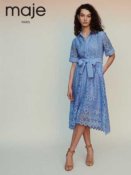 Maje女装品牌2019春夏新款蕾丝裙刺绣翻领衬衫裙单排扣收腰连衣裙