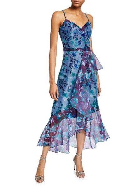 菲利林3.1女装品牌2019春夏新款无袖高低边荷叶褶皱单边装饰礼服