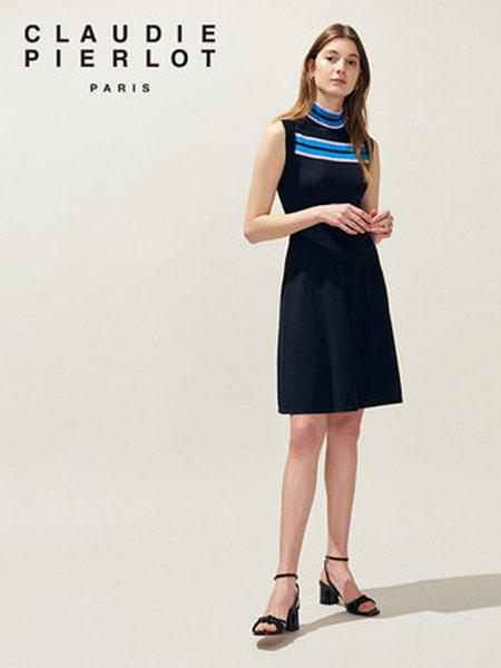 Claudie Pierlot女装品牌2019春夏新款立领露背无袖针织连衣裙