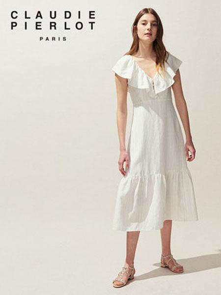 Claudie Pierlot女装品牌2019春夏新款荷叶边条纹长款连衣裙
