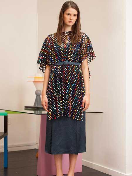 Rosie Assoulin女装品牌2019春夏新款时尚拼接真丝印花裹身裙连衣裙