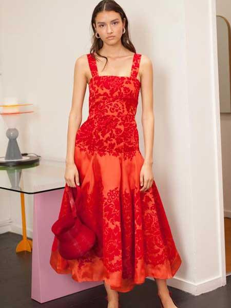 Rosie Assoulin女装品牌2019春夏新款红色吊带时尚宴会晚礼服