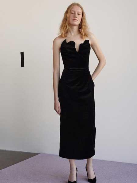 Rosie Assoulin女装品牌2019春夏新款抹胸性感露肩高贵气质晚礼服