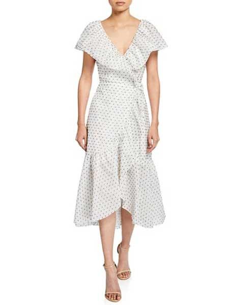Holly Fulton霍莉・富尔顿女装品牌2019春夏新款复古连衣裙V领短袖印花连衣裙收腰显瘦
