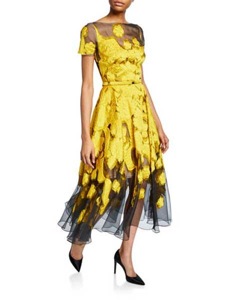 Holly Fulton霍莉・富尔顿女装品牌2019春夏新款时尚系带收腰不规则印花连衣裙
