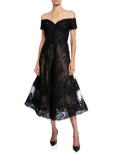Holly Fulton霍莉·富尔顿女装品牌2019春夏新款宴会高贵优雅一字肩黑色晚礼服