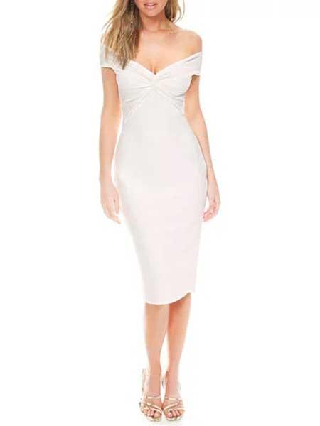 Holly Fulton霍莉·富尔顿女装品牌2019春夏新款一字肩修身包臀紧身弹力连衣裙