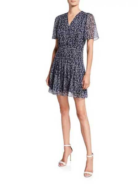 Holly Fulton霍莉·富尔顿女装品牌2019春夏新款气质印花短袖V领性感连衣裙