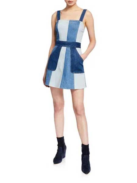 Holly Fulton霍莉・富尔顿女装品牌2019春夏新款小清新无袖a字修身显瘦收腰条纹拼接裙子短裙