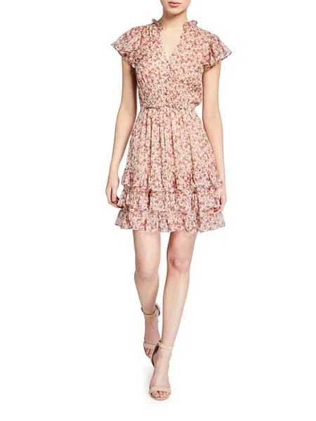 Holly Fulton霍莉・富尔顿女装品牌2019春夏新款荷叶边修身显瘦碎花雪纺连衣裙