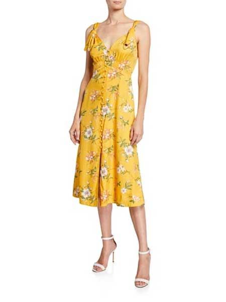 Holly Fulton霍莉・富尔顿女装品牌2019春夏新款性感V领印花吊带长裙