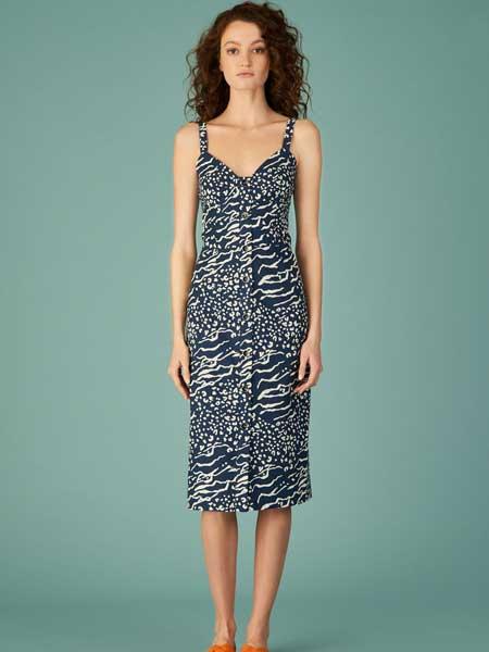 坦尼娅·泰勒女装品牌2019春夏新款吊带裙雪纺无袖复古中长不规则露背高腰连衣裙