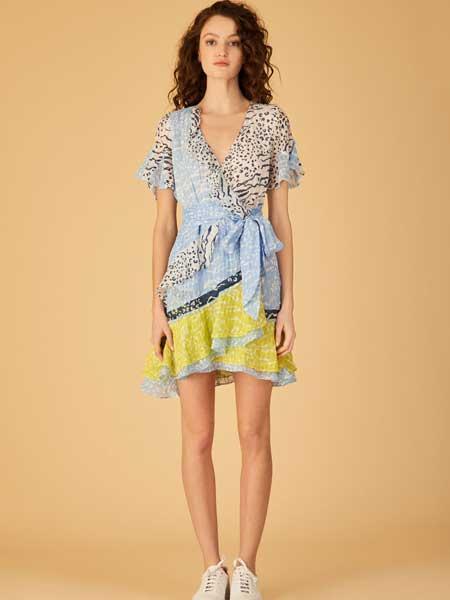 坦尼娅·泰勒女装品牌2019春夏新款很仙的V领印花洋气收腰系带连衣裙