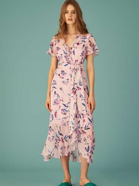 坦尼娅·泰勒女装品牌2019春夏新款碎花V领高腰长裙荷叶边不规则连衣裙