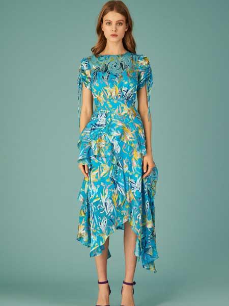 坦尼娅·泰勒女装品牌2019春夏新款印花高腰显瘦中长款A字型短袖连衣裙