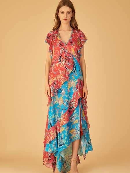 坦尼娅·泰勒女装品牌2019春夏新款时尚v领收腰显瘦碎花连衣裙