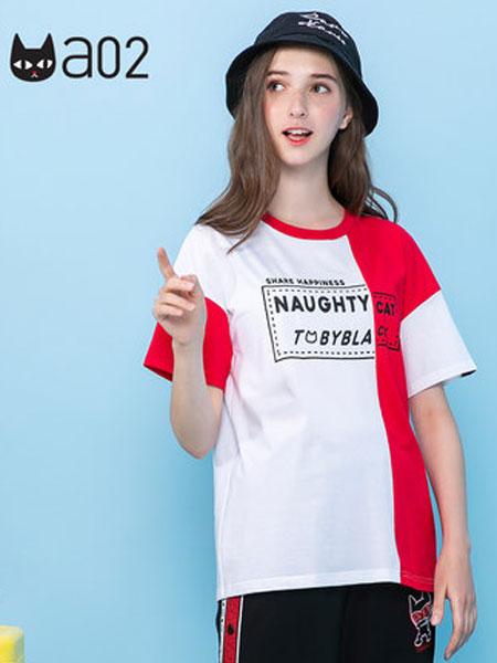 A02女装品牌2019春夏新款个性街头风撞色拼接字母印花宽松T恤