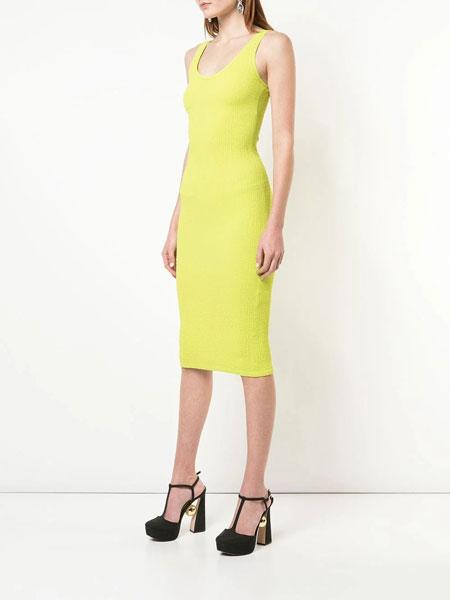 Christian Siriano克里斯蒂安·西里亚诺女装品牌2019春夏新款修身包臀纯色气质长款连衣裙