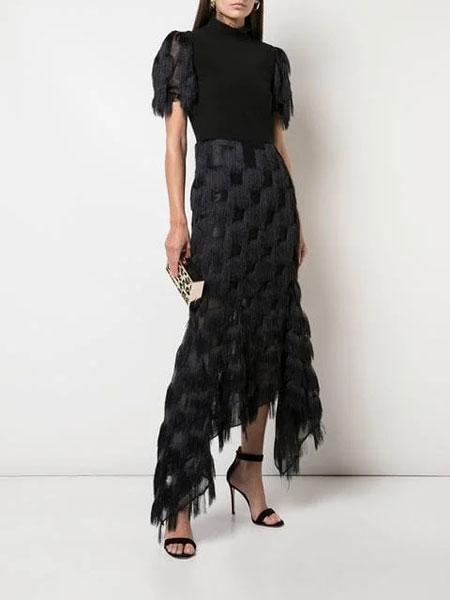 Christian Siriano克里斯蒂安·西里亚诺女装品牌2019春夏新款韩版气质圆领短袖中长款时尚蕾丝连衣裙潮