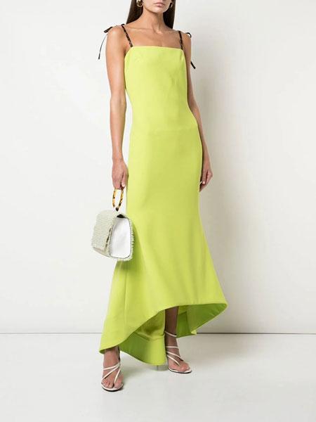 Christian Siriano克里斯蒂安·西里亚诺女装品牌2019春夏新款时尚吊带收腰下摆长款连衣裙