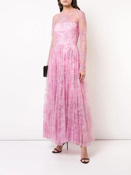 Christian Siriano克里斯蒂安·西里亚诺女装品牌2019春夏新款优雅时尚显瘦宴会长款连衣裙