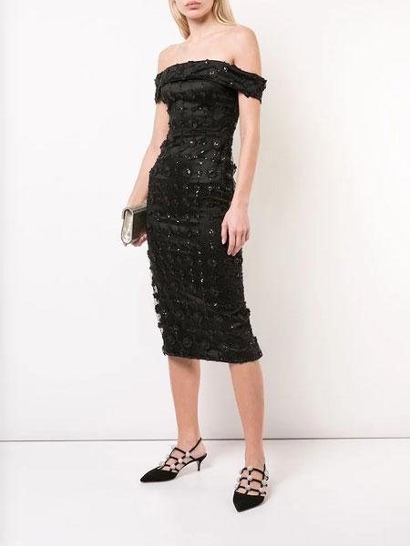 Christian Siriano克里斯蒂安·西里亚诺女装品牌2019春夏新款一字肩抹胸网纱吊带连衣裙