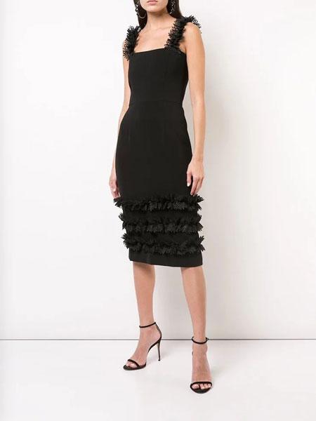 Christian Siriano克里斯蒂安·西里亚诺女装品牌2019春夏新款蕾丝肩带抹胸裸肩修身优雅连衣裙