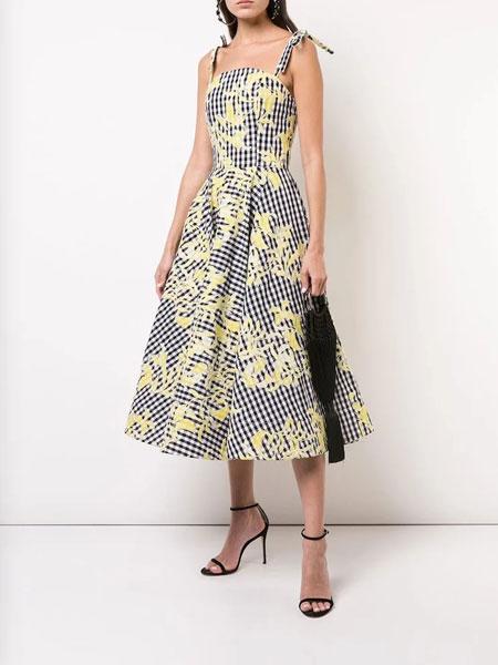 Christian Siriano克里斯蒂安·西里亚诺女装品牌2019春夏新款时尚吊带印花收腰连衣裙