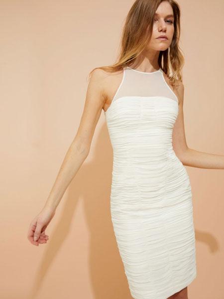 Halston Heritage候司顿传承女装品牌2019春夏新款性感修身半透包臀连衣裙