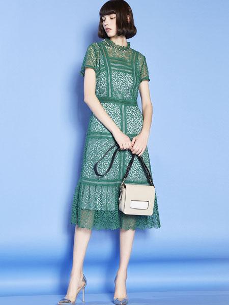 mia mia女装品牌2019春夏新款质短袖连衣裙中长款镂空圆领A字裙