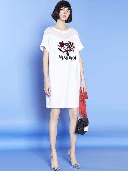 mia mia女装品牌2019春夏新款时尚宽松中长款短袖连衣裙