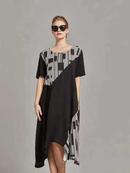 格蕾斯女装品牌2019春夏新款印花连衣裙减龄洋气显瘦藏肉中长款