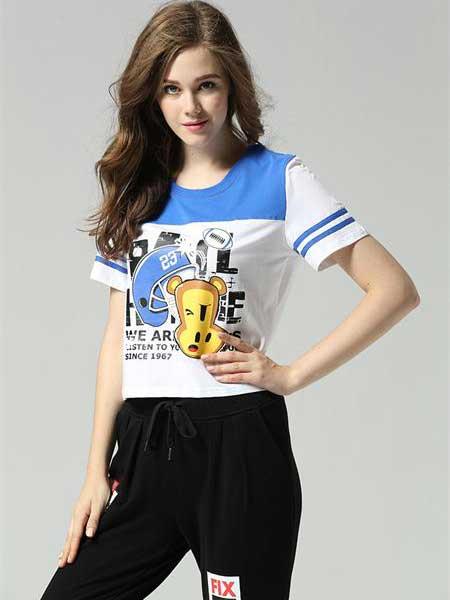 大嘴猴家族女装品牌2019春夏新款韩版时尚休闲宽松百搭短款T恤