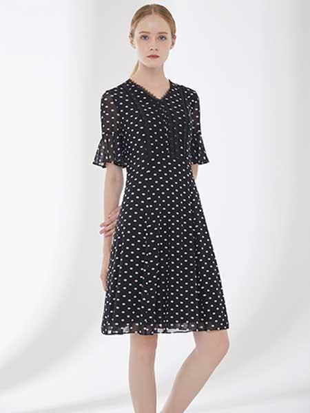 D'modes女装品牌2019春夏新款v领时尚气质显瘦收腰波点雪纺连衣裙